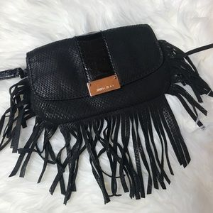 Jimmy Choo Snake Embossed Fringe Wristlet Leather